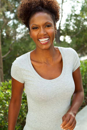 African American woman exercising.