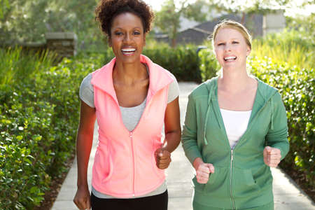 Friends talking and exercising. Stock Photo