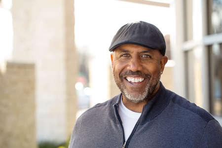 Mature African American Man Smiling Stock Photo