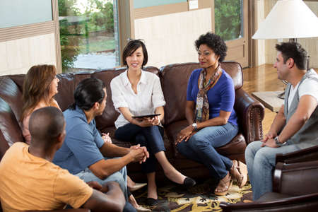 Small community group in a support group. Stock Photo - 95958493