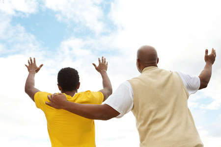 African American father and teen son. Stock Photo