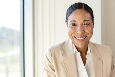 Portrait of African American business woman at work. Stockfoto