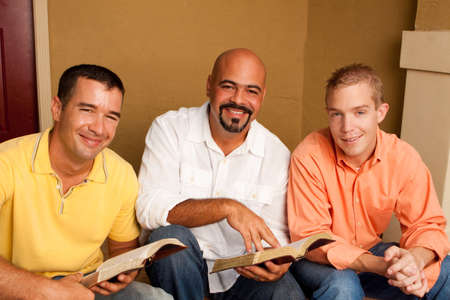 Mens Group Bible Study. Multicultural small group. Imagens