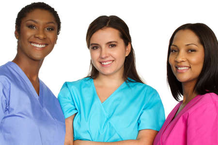 Medical team of women. Diverse group of nurses. 免版税图像 - 114706430