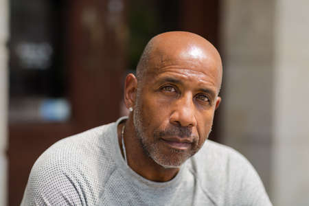 African American man with a concerned look. Stock Photo