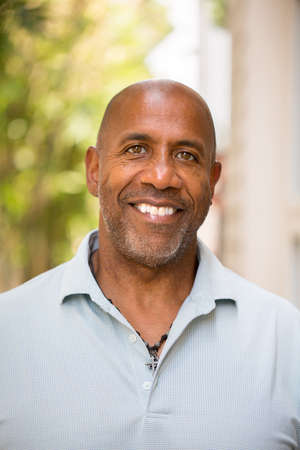 Portrait of a happy mature African American man smiling. Stock Photo