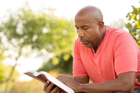 African American man praying and reading the Bible. 스톡 콘텐츠