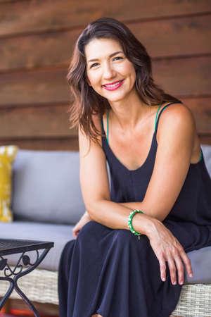 Portrait of a beautiful Hispanic woman smiling. 写真素材