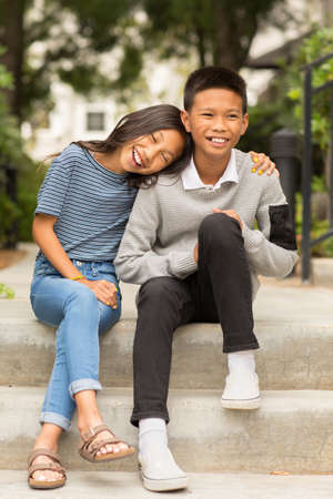 Portrait of an Asian brother and his little sister. Stok Fotoğraf