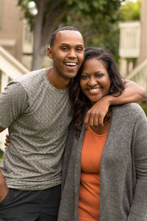 Portrait of an African American mother and her adult son