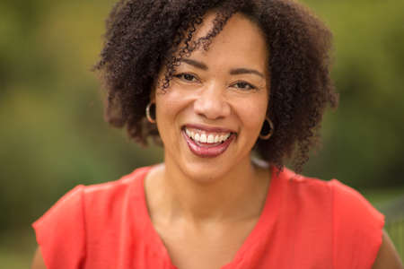 Confident Happy African American Woman Smiling Outside