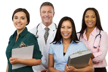 Diverse group of healthcare providers smiling isolated on white.