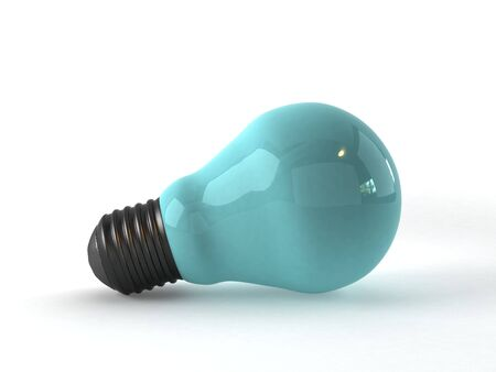 3d render of a blue light bulb Standard-Bild