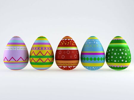 3d render of five painted easter eggs