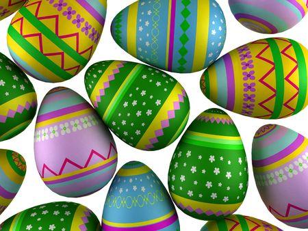 3d render of fallings painted easter eggs
