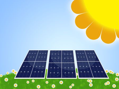 dinamismo: Illustrazione del pannello solare per energia rinnovabile