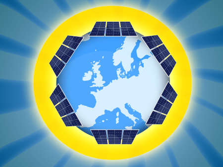 pane: Illustration of solar panel for renewable energy