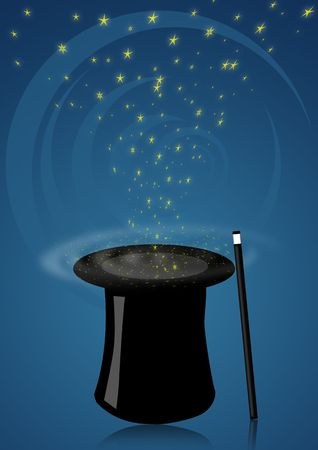 merlin: Illustration of a magic hat with wand for magician shows