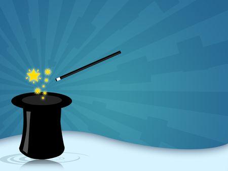 Illustration einer Tarnkappe mit Zauberstab f�r Zauberer zeigt