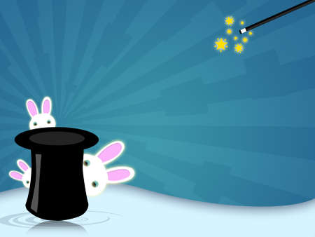 Illustration of a magic hat with wand for magician shows