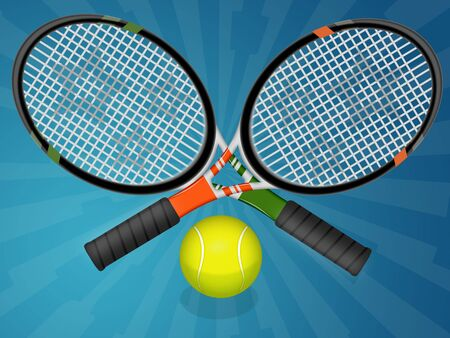 racquet: Illustration of a tennis racquet with a ball Stock Photo