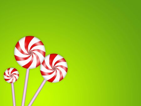 minty: illustration of sweet candies with red stripes
