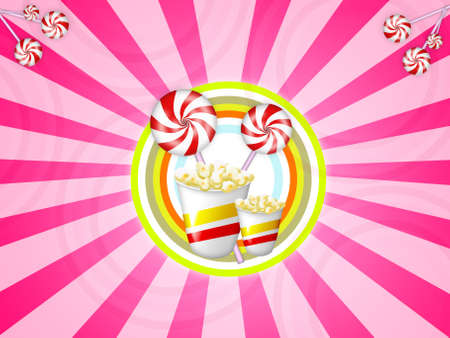 illustration with red striped candies and popcorns Stock Illustration - 2867423