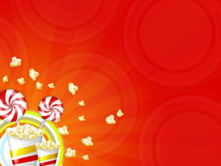 buttered: illustration with red striped candies and popcorns Stock Photo