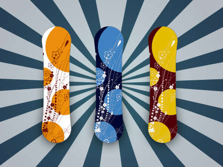 snowbank: illustration of colored snowboard for sport on snow Stock Photo