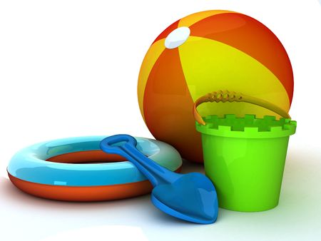 3d illustration of summer equipment like bucket and spade Stock Photo