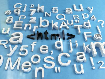 3d render of some letters and word html