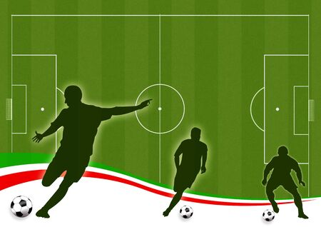 Wallpaper background with man silhouettes playing soccer Standard-Bild