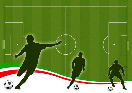 Wallpaper Hintergrund mit Mann Silhouetten Fu�ball spielen