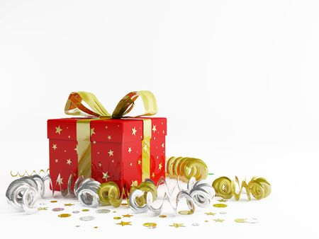 3d render illustration of decorations and christmas gifts