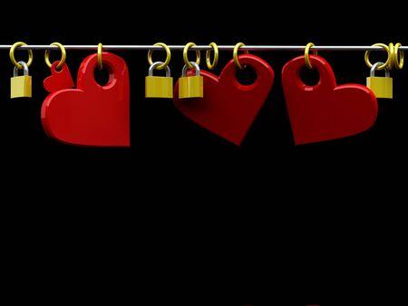 3D render illustration of some hearts and padlocks illustration