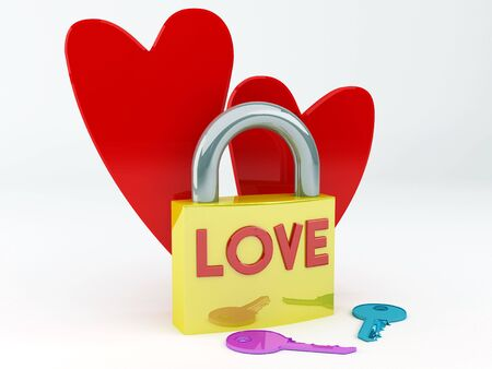 3d render illustration of a padlock's lovers Stock Illustration - 3467871