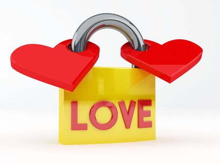 3d render illustration of a padlock's lovers Stock Illustration - 3467833