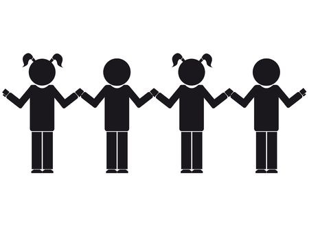 vector illustration of children silhouette staying together