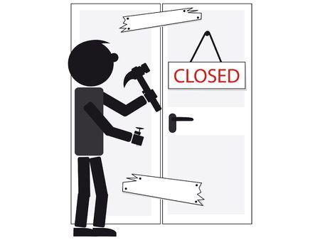 liquidate: illustration of a man closing his shop