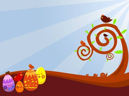 a background illustration for easter time with eggs and birds                                                                                              illustration