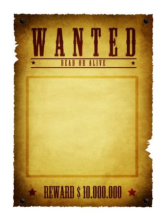 an illustration of a wanted retro poster