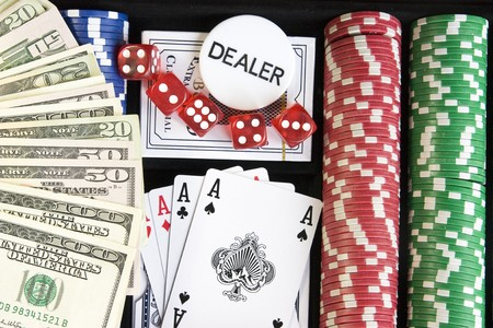 lasvegas: Gambling background with dollars,dices and chips