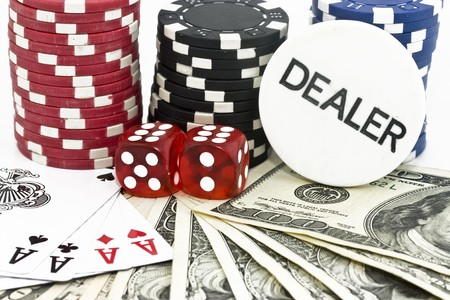 lasvegas: poker background with dollars,dices and chips Editorial