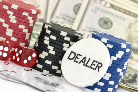 lasvegas: poker background with dollars,dices and chips Stock Photo