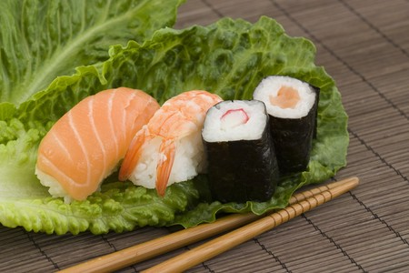 japanes: a background photo of a typical japanes sashimi and sushi food