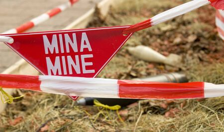 Danger mine stripe for safe area Stock Photo - 7521352
