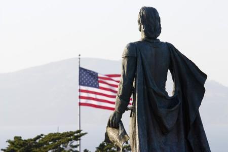 telegraph hill: Columbus statue on the telegraph hill on San Francisco