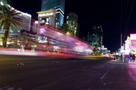 Cars on Las vegas strip view by night
