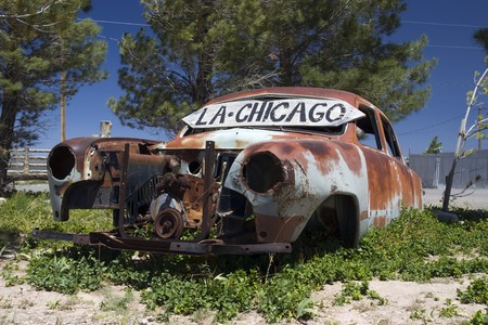 Old car in the famous route 66 road in USA Stock Photo