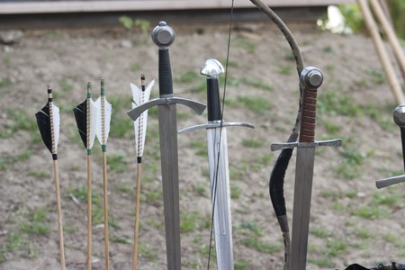 Real medieval swords for gladiators in Rodemack festival Stock Photo - 7557549